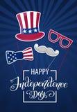 Jour de la Déclaration d'Indépendance heureux Etats-Unis Quart de juillet Attributs patriotiques, invitation de partie Illustrati illustration stock