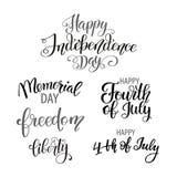 Jour de la Déclaration d'Indépendance heureux Etats-Unis Quart de juillet Attributs patriotiques, invitation de partie Illustrati illustration de vecteur