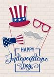 Jour de la Déclaration d'Indépendance heureux Etats-Unis Quart de juillet Attributs patriotiques, invitation de partie Illustrati illustration libre de droits