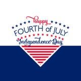 Jour de la Déclaration d'Indépendance heureux 4 juillet quatrième Vecteur - mémorial Indicateur Patriotique célébrez illustration de vecteur