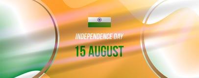 Jour de la Déclaration d'Indépendance d'Inde de bannière 15ème de l'illustration EPS10 d'August Flat Vector illustration libre de droits