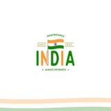 Jour de la Déclaration d'Indépendance d'Inde du signe d'isolat d'Empire Britannique du rétro logotype de style de vecteur Univers illustration libre de droits