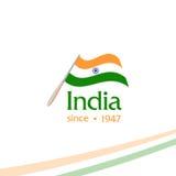 Jour de la Déclaration d'Indépendance d'Inde du signe d'isolat d'Empire Britannique du rétro logotype de style de vecteur Univers illustration de vecteur