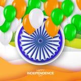 Jour de la Déclaration d'Indépendance indien Fond de célébration avec la roue d'Ashoka Photos stock