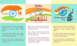 Jour de la Déclaration d'Indépendance de l'ensemble d'Inde d'affiches illustration libre de droits