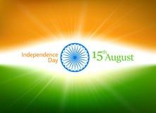 Jour de la Déclaration d'Indépendance de l'Inde 15ème August Card en couleurs de nationa Illustration Stock