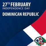 Jour de la Déclaration d'Indépendance de la République Dominicaine  Drapeau et bannière patriotique illustration stock