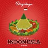 Jour de la Déclaration d'Indépendance de la République de l'Indonésie le 17 août illustration libre de droits