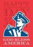 Jour de la Déclaration d'Indépendance saluant le soldat Carte-américain Bust de patriote Photo libre de droits