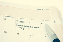 Jour de la Déclaration d'Indépendance sur le calendrier Photographie stock libre de droits