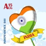Jour de la D?claration d'Ind?pendance de l'Inde 15 ao?t Cercle Ashoka Tricolore indien tricolore ndian illustration stock