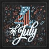 Jour de la Déclaration d'Indépendance de carte de typographie Panneau de craie Photo libre de droits