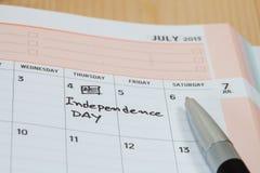 Jour de la Déclaration d'Indépendance sur le calendrier Photos stock