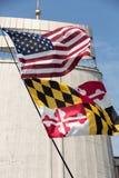 Jour 2016 de la jeunesse du monde - drapeaux des Etats-Unis et du Maryland dans le sanctuaire de la pitié divine dans Lagiewniki Images stock
