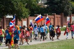 Jour 2016 de la jeunesse du monde - pèlerins dans le sanctuaire de la pitié divine dans Lagiewniki Cracovie, Photo libre de droits
