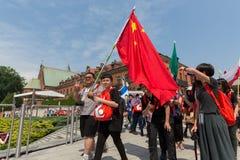 Jour 2016 de la jeunesse du monde - pèlerins de Chine dans le sanctuaire de la pitié divine dans Lagiewniki Cracovie Photos stock