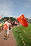Jour 2016 de la jeunesse du monde - pèlerins de Chine dans le sanctuaire de la pitié divine dans Lagiewniki Cracovie Images stock