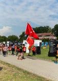 Jour 2016 de la jeunesse du monde - pèlerins de Chine dans le sanctuaire de la pitié divine dans Lagiewniki Cracovie Image stock