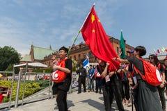 Jour 2016 de la jeunesse du monde - pèlerins de Chine dans le sanctuaire de la pitié divine dans Lagiewniki Cracovie Photo libre de droits