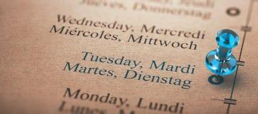Jour de la semaine, foyer mardi Images stock
