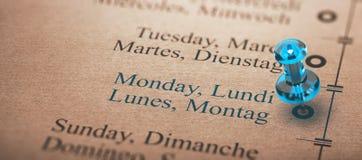 Jour de la semaine, lundi Photos libres de droits