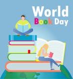 Jour de livre du monde, petits livres de lecture de personnes, concept d'éducation, illustration heureuse de vecteur de jour de l illustration libre de droits