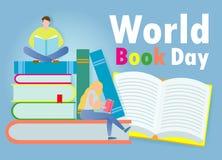 Jour de livre du monde, petits livres de lecture de personnes, concept d'?ducation, illustration heureuse de vecteur de jour de l illustration stock