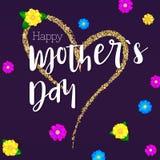 Jour de mère heureux Bannière de salutation pour vos cartes de félicitations Le grand coeur de dessin de main avec le scintilleme illustration libre de droits