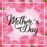 Jour de mères floral de carte de voeux de décoration de roses roses Photos libres de droits
