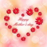 Jour de mères heureux écrit à un coeur Photographie stock libre de droits