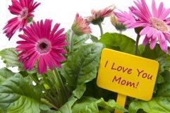 Jour de mères heureux avec des fleurs Images stock