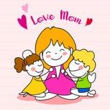 Jour de mères heureux de bande dessinée de dessin de main Images libres de droits