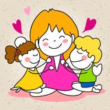 Jour de mères heureux de bande dessinée de dessin de main Images stock