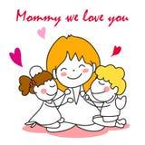Jour de mères heureux de bande dessinée de dessin de main Photographie stock