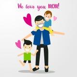 Jour de mères heureux de bande dessinée de dessin de main Photo stock