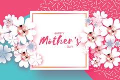Jour de mères heureux bleu rose Pierres brillantes Fleur coupée de papier Trame carrée illustration stock