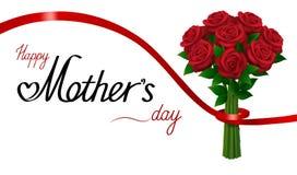Jour de mères heureux Bouquet des roses rouges avec le ruban sur le fond blanc Photo libre de droits