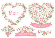 Jour de mères heureux, coeurs floraux, ensemble de vecteur Photo libre de droits