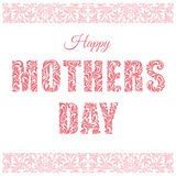 Jour de mères heureux Police décorative faite dans les remous et l'ele floral Images stock