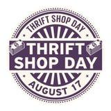 Jour de magasin d'articles d'occasion au profit d'oeuvres de charité, le 17 août illustration libre de droits