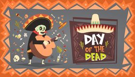 Jour de Mexicain traditionnel mort Halloween Dia De Los Muertos Holiday Party Illustration Stock