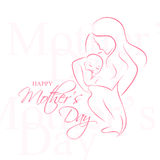 Jour de Mother - disposition élégante de vecteur avec la mère contournée une silhouette d'enfant Image stock