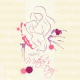 Jour de Mother - disposition élégante de vecteur avec la mère contournée une silhouette d'enfant Images stock