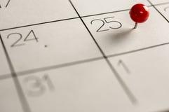 Jour de Noël marqué sur le calendrier Photos libres de droits