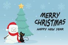 Jour de Noël mignon de bande dessinée de caractère, festival de bonne année de Joyeux Noël, chat noir et homme de neige, arbre de Image stock