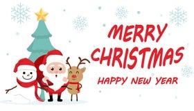 Jour de Noël mignon de bande dessinée de caractère, festival de bonne année de Joyeux Noël, le père noël avec le boîte-cadeau dan Image stock