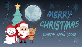 Jour de Noël mignon de bande dessinée de caractère, nouveau heureux de Joyeux Noël Photos libres de droits