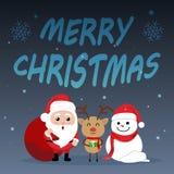 Jour de Noël mignon de bande dessinée de caractère, nouveau heureux de Joyeux Noël Photographie stock
