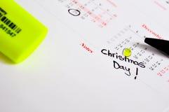 Jour de Noël sur le calendrier Photos stock