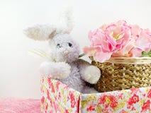 Jour de Pâques de poupée et de giftbox de lapin Images stock